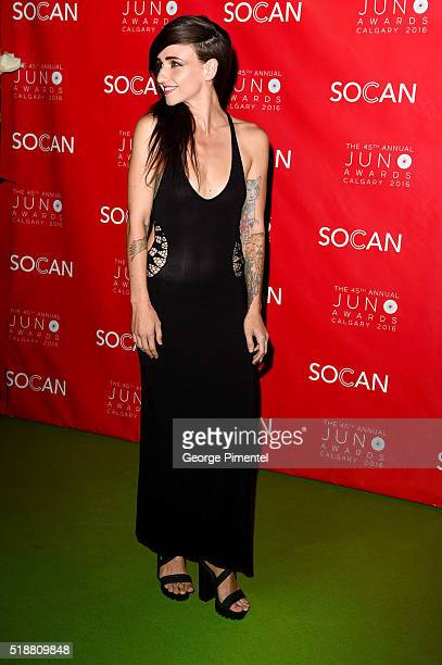 Lights singer/songwriter Valerie Anne Poxleitner Bokan attends the 2016 Juno Gala Dinner And Awards at the Telus Convention Center on April 2 2016 in...