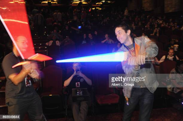 Lightsaber fan battle at the Opening Night Celebration Of Walt Disney Pictures And Lucasfilm's 'Star Wars The Last Jedi' At TCL Chinese Theatre held...