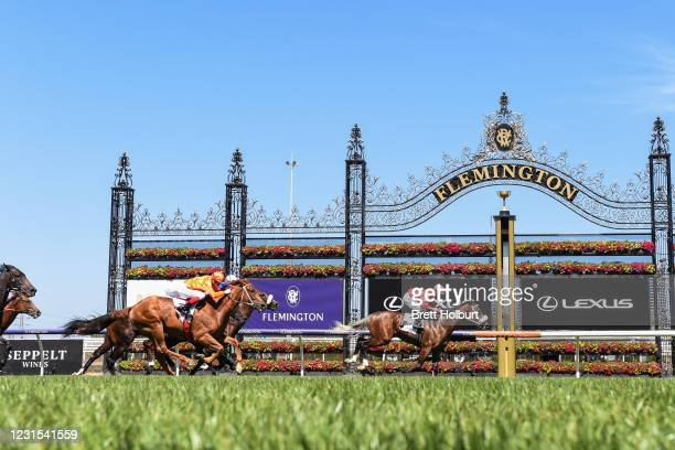 Lightsaber ridden by Luke Nolen wins the MSS Security Sires' Produce Stakes at Flemington Racecourse on March 06, 2021 in Flemington, Australia.