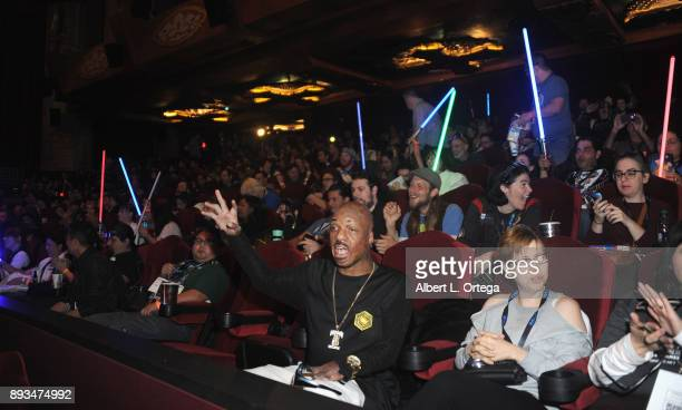 Lightsaber tribute to Carrie Fisher at the Opening Night Celebration Of Walt Disney Pictures And Lucasfilm's 'Star Wars The Last Jedi' At TCL Chinese...