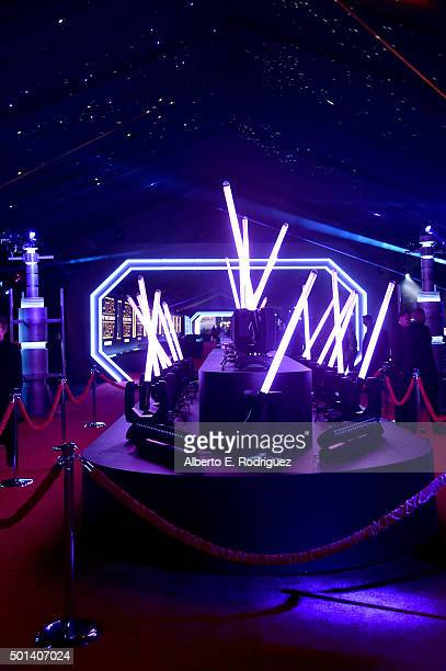 """Lightsabers on display during the after party for the World Premiere of """"Star Wars The Force Awakens"""" on Hollywood Blvd on December 14 2015 in..."""