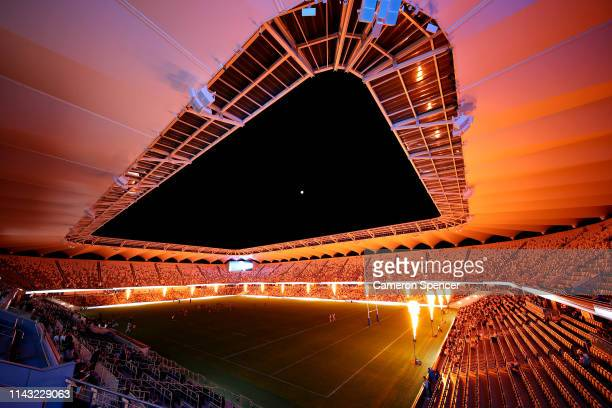 A lightshow entertains spectators during a Parramatta Eels NRL training and media session at Bankwest Stadium on April 17 2019 in Sydney Australia
