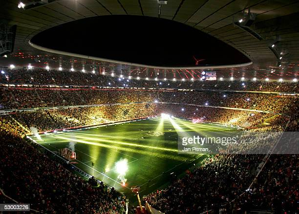 A lightshow is seen after the opening game between FC Bayern Munich and the German Football National Team in the Allianz Arena on May 31 2005 in...