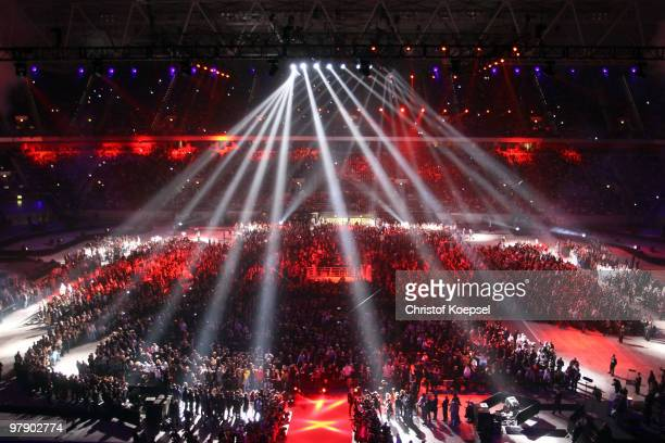 Lightshow is seen before Wladimir Klitschko of Ukraine and Eddie Chambers of USA fight their WBO Heavyweight World Championship fight at the Esprit...
