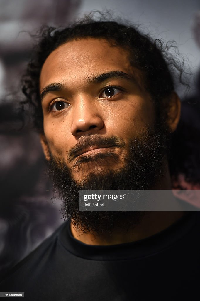 UFC lightweight Benson 'Smooth' Henderson speaks to the media during an open workouts session at UFC Gym on January 15, 2015 in Boston, Massachusetts.