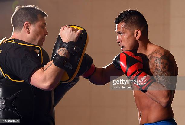 UFC lightweight champion Anthony Pettis holds an open training session for fans and media at the Hilton Anatole Hotel on March 11 2015 in Dallas Texas