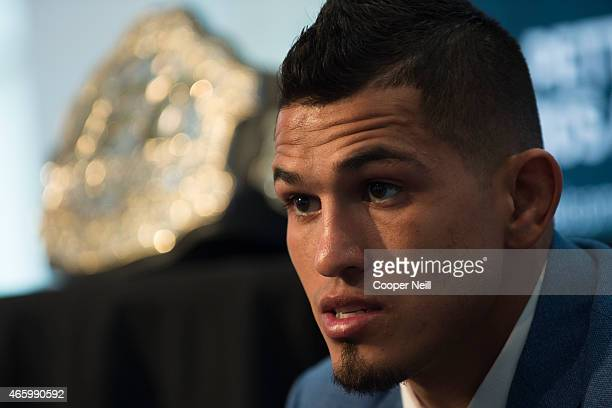 UFC lightweight champion Anthony Pettis speaks with the media during the UFC 185 Ultimate Media Day at the American Airlines Center on March 12 2015...