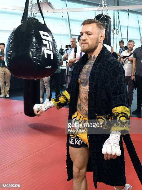 UFC lightweight champion Conor McGregor holds a media workout at the UFC Performance Institute on August 11 2017 in Las Vegas Nevada McGregor will...