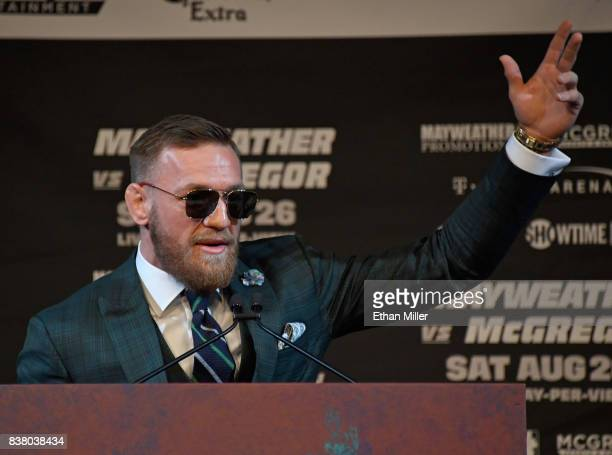 UFC lightweight champion Conor McGregor speaks during a news conference at the KA Theatre at MGM Grand Hotel Casino on August 23 2017 in Las Vegas...