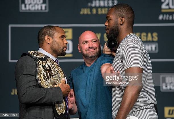 UFC lightweight champion Daniel Cormier and Jon Jones face off during the UFC 200 Press Conference in KA Theater at MGM Grand Hotel Casino on July 6...