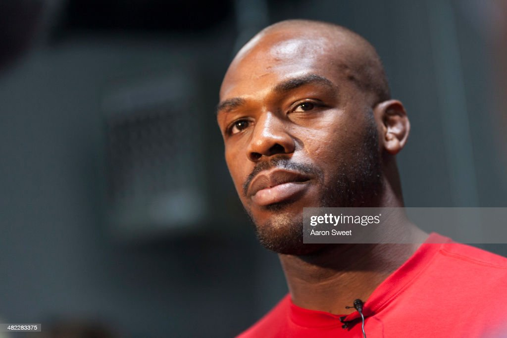 UFC lightweight champion Jon 'Bones' Jones interacts with media during an open training session for fans and media at the Jackson's Mixed Martial Arts and Fitness on April 2, 2014 in Albuquerque, New Mexico.