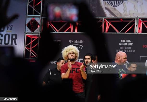 UFC lightweight champion Khabib Nurmagomedov attends a ceremonial weighin for UFC 229 at TMobile Arena on October 05 2018 in Las Vegas Nevada...