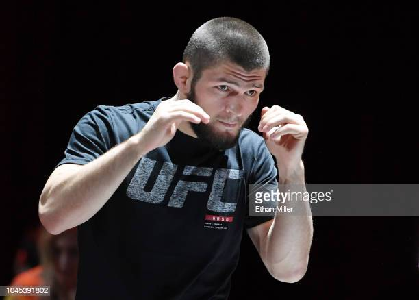UFC lightweight champion Khabib Nurmagomedov attends an open workout for UFC 229 at Park Theater at Park MGM on October 03 2018 in Las Vegas Nevada...
