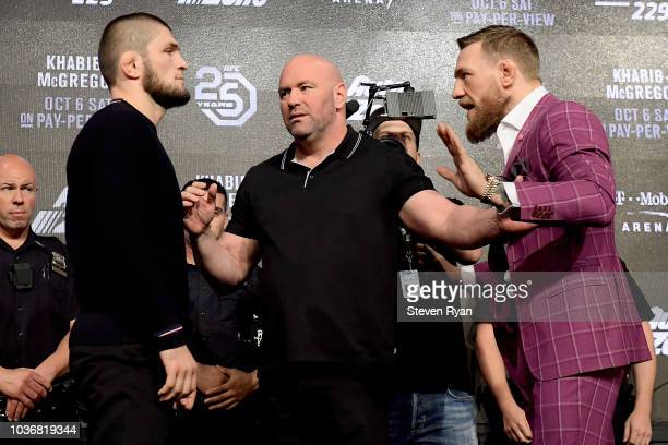 Lightweight champion Khabib Nurmagomedov facesoff with Conor McGregor during the UFC 229 Press Conference at Radio City Music Hall on September 20...