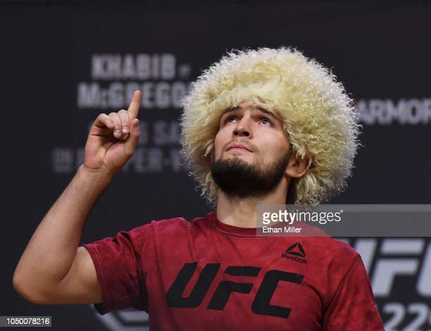 UFC lightweight champion Khabib Nurmagomedov poses during a ceremonial weighin for UFC 229 at TMobile Arena on October 05 2018 in Las Vegas Nevada...