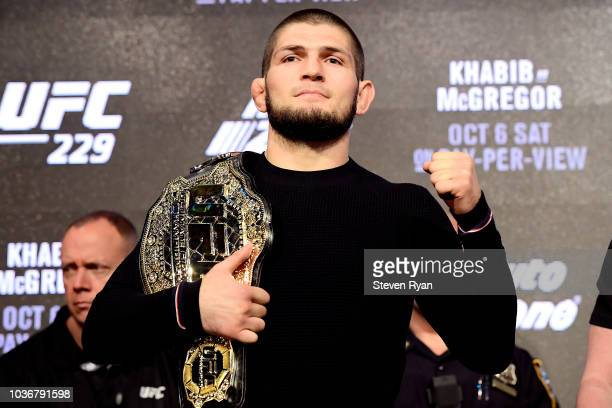 Lightweight Champion Khabib Nurmagomedov poses for photos during the UFC 229 Press Conference at Radio City Music Hall on September 20 2018 in New...