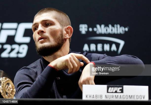 UFC lightweight champion Khabib Nurmagomedov remarks on a tardy Conor McGregor during a press conference for UFC 229 at Park Theater at Park MGM on...