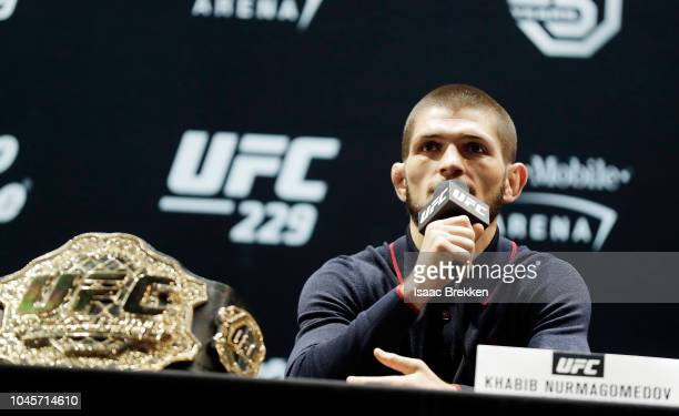 UFC lightweight champion Khabib Nurmagomedov speaks during a press conference for UFC 229 at Park Theater at Park MGM on October 04 2018 in Las Vegas...