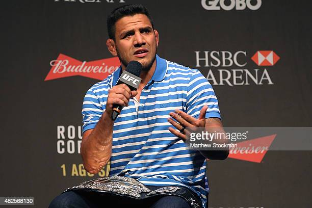 Lightweight Champion Rafael dos Anjos of Brazil interacts with fans during a Q&A session before the UFC 190 Rousey v Correia weigh-in at HSBC Arena...