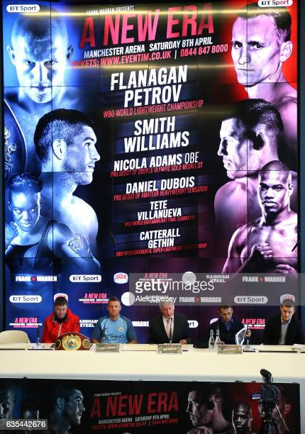 Lightweight Champion Terry Flanagan and his challenger Petr Petrov meet face to face ahead of their forthcoming fight during a boxing press...