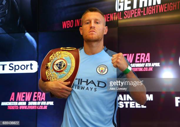 Lightweight Champion Terry Flanagan poses for a photograph after a press conference ahead of his fight against Petr Petrov during a boxing press...