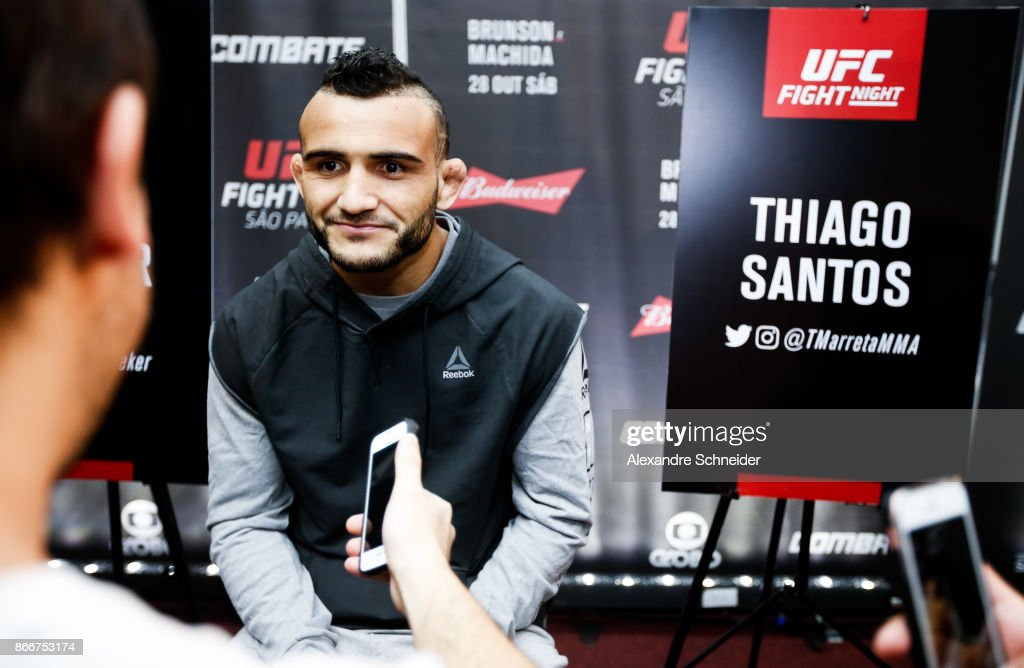 Lightweight contender John Lineker Speakes to the press during the Ultimate Media Day at the Matsubara Hotel for the UFC Fight Night Sao Paulo on October 26, 2017 in Sao Paulo, Brazil.