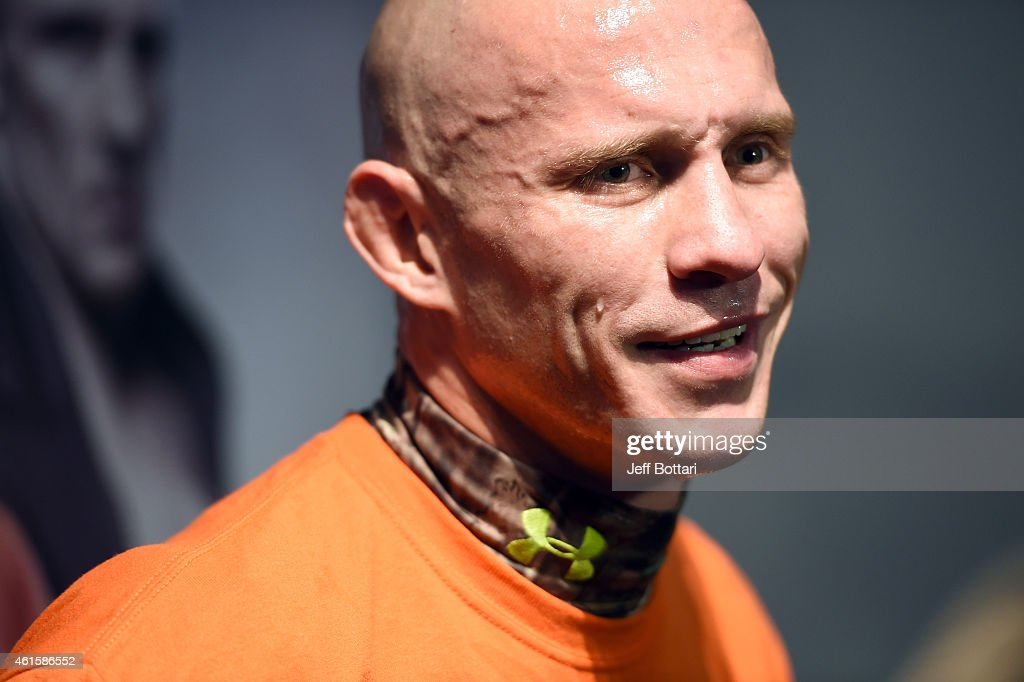 UFC lightweight Donald 'Cowboy' Cerrone speaks to the media during the open workouts session at UFC Gym on January 15, 2015 in Boston, Massachusetts.
