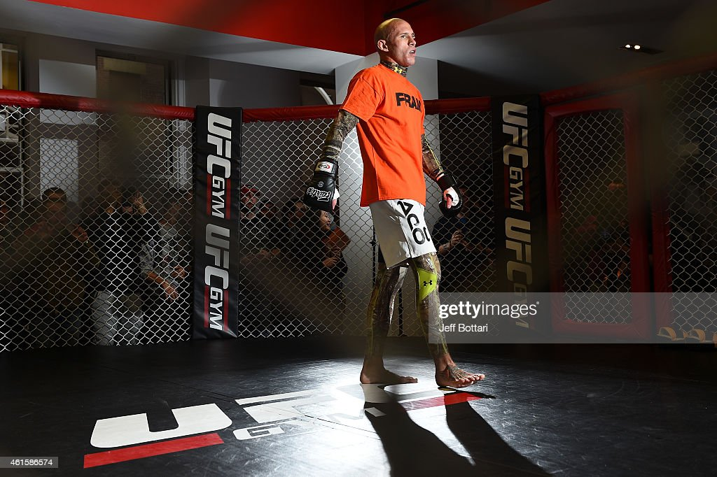 UFC lightweight Donald 'Cowboy' Cerrone works out for the media and fans during the open workouts session at UFC Gym on January 15, 2015 in Boston, Massachusetts.