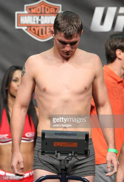 UFC Lightweight Fighter Darren Elkins weighs in at 1545 lbs at the UFC Live on Versus 2 official weighin on July 31 2010 at the San Diego Sports...