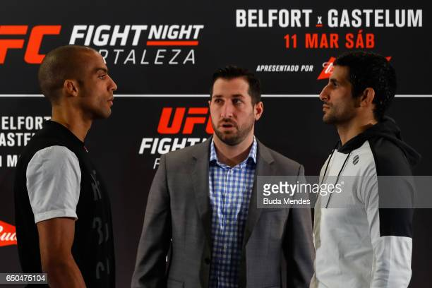 Lightweight fighters Edson Barboza of Brazil and Beneil Dariush of Iran face off during Ultimate Media Day at Gran Marquise Hotel on March 09, 2017...