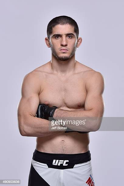 UFC lightweight Islam Makhachev poses for a portrait during a UFC photo session inside the Westin Houston on October 1 2015 in Houston Texas