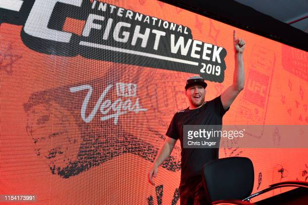 UFC lightweight Justin Gaethje walks on stage during the UFC Fan Experience at the Downtown Las Vegas Events Center on July 5 2019 in Las Vegas Nevada