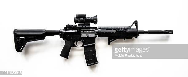 lightweight, magazine-fed, gas-operated semi-automatic rifle - ar 15 stock pictures, royalty-free photos & images