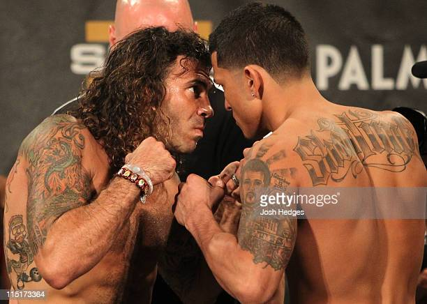 Lightweight opponents Clay The Carpenter Guida and Anthony Pettis face off at the Ultimate Fighter 13 Finale weighin at the Palms Casino Resort on...