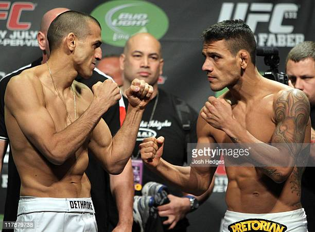 Lightweight opponents George Sotiropoulos and Rafael Dos Anjos face off at the UFC 132 weighin inside the MGM Grand Garden Arena on July 1 2011 in...
