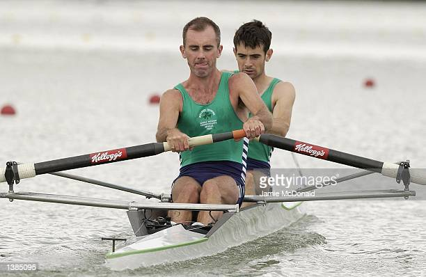Lightweight Pair Kevin Towey and Anthony O'Connor of Ireland during the FISA Rowing World Championships on September 16 2002 in Seville Spain