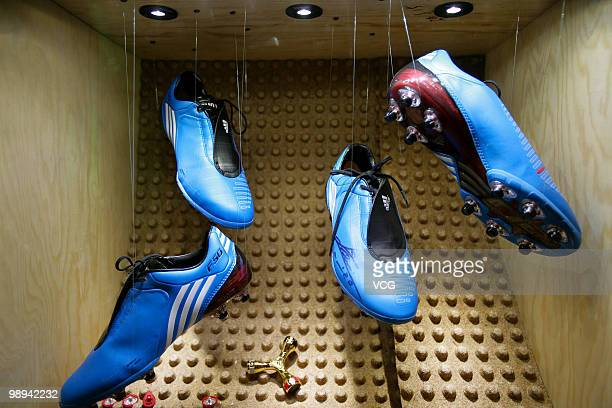 Lightweight soccer shoes with exchangeable studs and insoles are on display in the Germany Pavilion during eighth day of the World Expo Shanghai 2010...