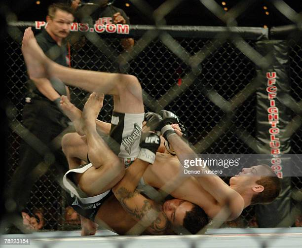 Lightweight UFC Fighters Cole Miller and Leonard Garcia compete during UFC Fight Night at The Pearl at The Palms Casino Reosrt on September 19 2007...