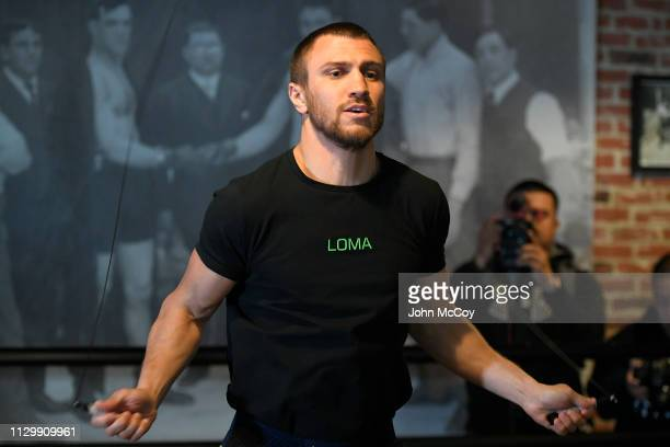 WBA lightweight world champion Vasiliy Lomachenko jumps rope as he works out at Fortune Gym on March 11 2019 in Los Angeles California