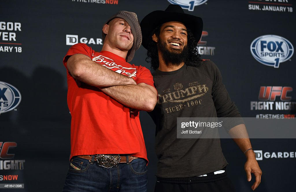 UFC lightweights Donald 'Cowboy' Cerrone and Benson 'Smooth' Henderson interact with the media at Faneuil Hall on January 16, 2015 in Boston, Massachusetts.