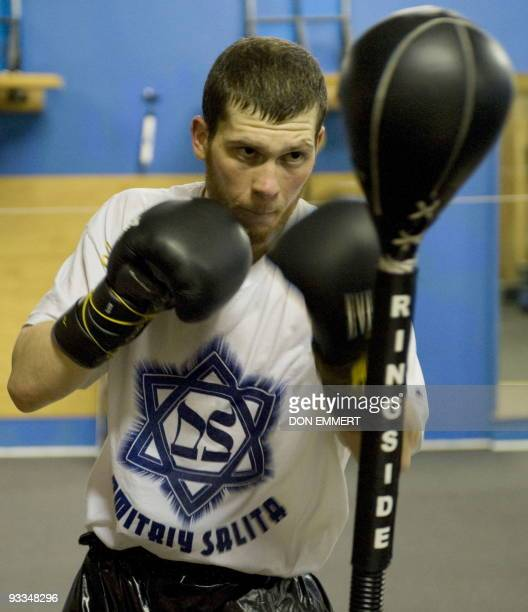 Lightwelterweight number one boxing contender Dmitriy Salita works out on a punching bag during training November 12 2009 in Bushkill Pennsylvania...