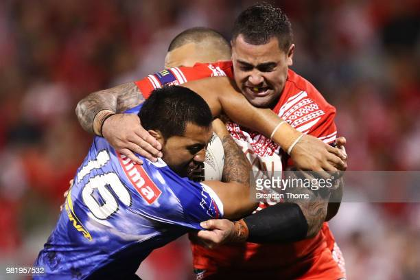Ligi Sao of Samoais tackled by Andrew Fifita of Tonga during the 2018 Pacific Test Invitational match between Tonga and Samoa at Campbelltown Sports...