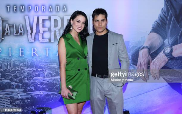 Ligia Uriarte and Alex Perea poses for photos during 'Sin Miedo a la Verdad' Red Carpet at Televisa San Angel on July 8 2019 in Mexico City Mexico