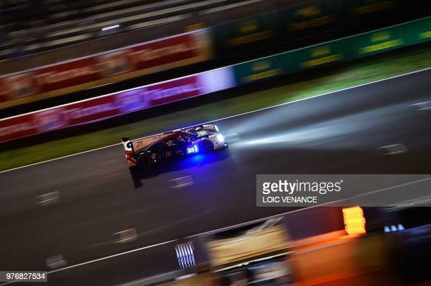 Ligier JSP217 Gibson British driver Will Stevens competes during the 86th Le Mans 24hours endurance race at the Circuit de la Sarthe at night on June...