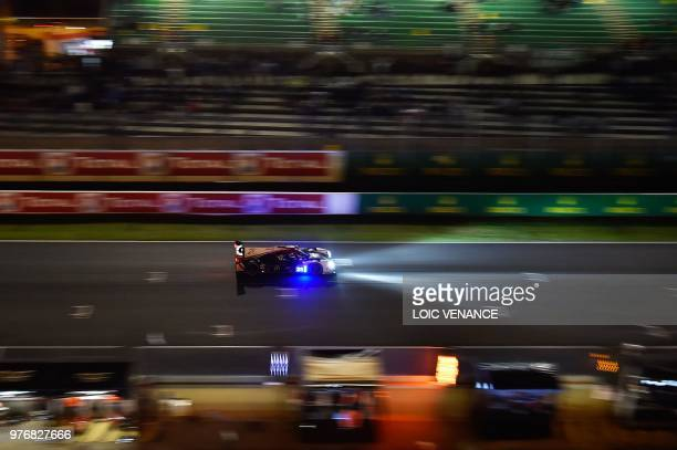 TOPSHOT Ligier JSP217 Gibson British driver Will Stevens competes during the 86th Le Mans 24hours endurance race at the Circuit de la Sarthe at night...
