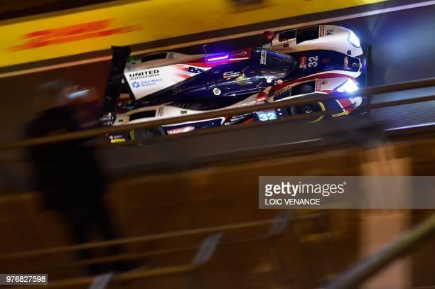 Ligier JSP217 Gibson Colombian driver Juan Pablo Montoya competes during the 86th Le Mans 24hours endurance race at the Circuit de la Sarthe at night...