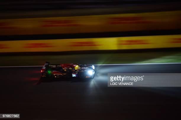 Ligier JSP217 Gibson Danish driver David Heinemeier Hansson competes during the 86th Le Mans 24hours endurance race at the Circuit de la Sarthe at...