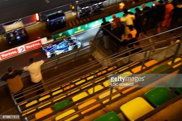Ligier JSP217 Gibson Dutch driver Ate de Jong competes during the 86th Le Mans 24hours endurance race at the Circuit de la Sarthe at night on June 17...