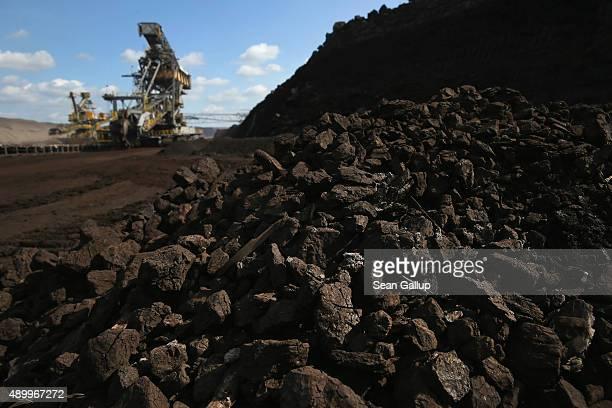 Lignite coal lies near bucketwheel excavators in the Welzow Sued openpit lignite coal mine on September 25 2015 near Welzow Germany The Welzow Sued...