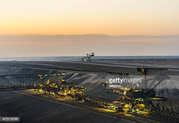 lignite opencast mining - floodlit stock pictures, royalty-free photos & images